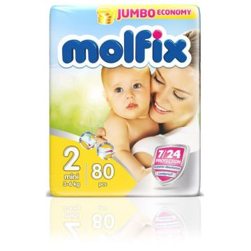 Подгузники MolfixПодгузники Molfix Mini (3-6 кг) 80 шт, в упаковке 80 шт., размер S<br><br>Штук в упаковке: 80<br>Размер: S