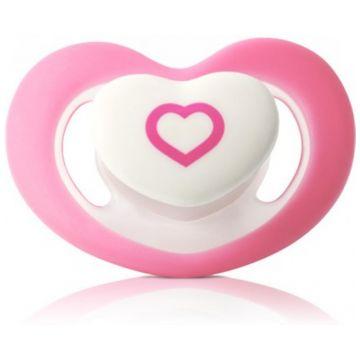 Пустышка BabyOno силиконовая 0-6 мес (розовое сердечко)