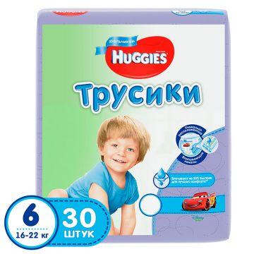 Трусики для мальчиков HuggiesТрусики для мальчиков Huggies 6 (16-22 кг) джамбо 30 шт, в упаковке 30 шт., размер XXL<br><br>Штук в упаковке: 30<br>Размер: XXL
