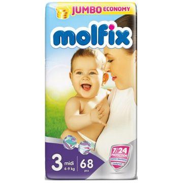 Подгузники MolfixПодгузники Molfix Midi (4-9 кг) 68 шт, в упаковке 68 шт., размер M<br><br>Штук в упаковке: 68<br>Размер: M