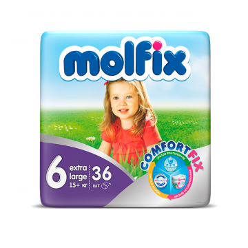 Подгузники MolfixПодгузники Molfix Extra Large (15+ кг) 36 шт, в упаковке 36 шт., размер XXL<br><br>Штук в упаковке: 36<br>Размер: XXL