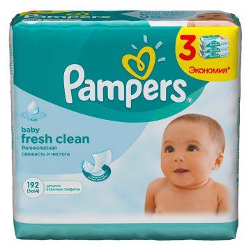 Салфетки детские увлажненные PampersСалфетки детские увлажненные Pampers Baby Fresh Clean зап. блок 3х64, в упаковке 192 шт.<br><br>Штук в упаковке: 192