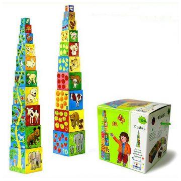 Игрушка развивающая DjecoИгрушка развивающая Djeco Кубики-пирамида Мои друзья 10 эл.08506, возраст от 1 года<br><br>Возраст: от 1 года