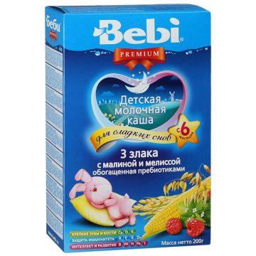 Каша BebiКаша Bebi Премиум для сладких снов - 3 злака с малиной и мелиссой с пребиот. мол. с 6 мес. 200 г, возраст 3 ступень (6-12 мес). Проконсультируйтесь со специалистом. Для детей с 6 мес.<br><br>Возраст: 3 ступень (6-12 мес)