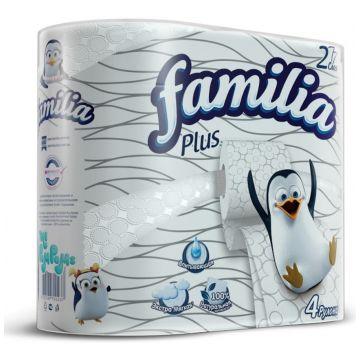 Туалетная бумага FamiliaТуалетная бумага Familia Plus белая двухслойная 4 шт, в упаковке 4 шт.<br><br>Штук в упаковке: 4