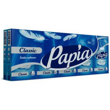 Бумажные носовые платочки PapiaБумажные носовые платочки Papia Classical 4-хслойные 1 уп/10 платочков<br>