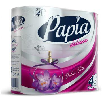 Туалетная бумага Papia Deluxe белая Dolce Vita с рисунком 4 рулона