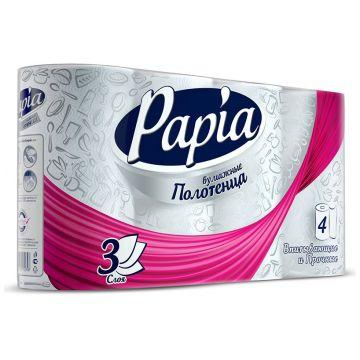 Бумажные полотенца PapiaБумажные полотенца Papia белые трехслойные 4 шт<br>