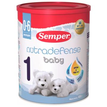 Молочная смесь SemperМолочная смесь Semper Nutradefense Baby 1 с рождения 400 г, возраст 1 ступень (0-3 мес). Проконсультируйтесь со специалистом. Для детей с 0 месяцев<br><br>Возраст: 1 ступень (0-3 мес)
