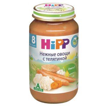 Детское пюре Детское питание HippДетское пюре Hipp нежные овощи с телятиной с 8 мес. 220 г, возраст 3 ступень (6-12 мес). Проконсультируйтесь со специалистом. Для детей с 8 мес.<br><br>Возраст: 3 ступень (6-12 мес)