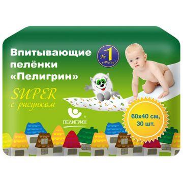 Пеленки впитывающие детские ПелигринПеленки впитывающие детские Пелигрин Super (большая упаковка) 40х60 см 30 шт, в упаковке 30 шт.<br><br>Штук в упаковке: 30