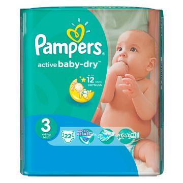 Подгузники PampersПодгузники Pampers Active Baby-Dry 4-9 кг 3 размер 22 шт, в упаковке 22 шт., размер M<br><br>Штук в упаковке: 22<br>Размер: M