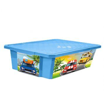 Ящик для хранения игрушек ToyMart X-BOX Sity Cars.30л. на колёсах. 1024LA-BS