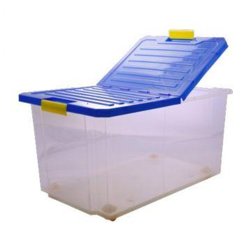 Ящик для хранения ToyMartЯщик для хранения ToyMart Unibox 30л на роликах синий 2564BQ<br>