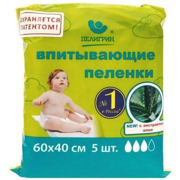 Пеленки впитывающие детские ПелигринПеленки впитывающие детские Пелигрин Алоэ 40х60 см 5шт, в упаковке 5 шт.<br><br>Штук в упаковке: 5