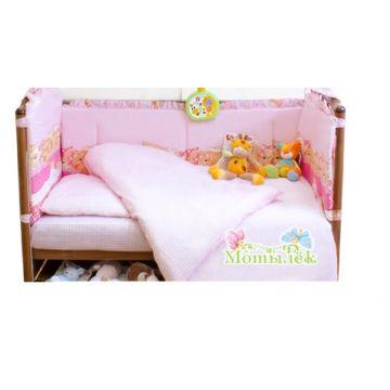 Бампер в кроватку ToyMartБампер в кроватку ToyMart высокий розовый К-Б3<br>