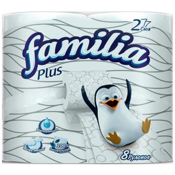 Туалетная бумага FamiliaТуалетная бумага Familia Plus белая двухслойная 8 шт, в упаковке 8 шт.<br><br>Штук в упаковке: 8