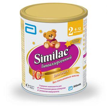 Молочная смесь SimilacМолочная смесь Similac Гипоаллергенный 2 профилактическая 6-12 мес. 400 г, возраст 3 ступень (6-12 мес). Проконсультируйтесь со специалистом. Для детей 6-12 мес.<br><br>Возраст: 3 ступень (6-12 мес)