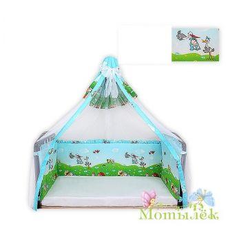 Бампер в кроватку-балдахин вуаль ToyMart высокий, голубой К-Б2/Т-М