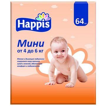 Подгузники HappisПодгузники Happis размер S (4-6 кг) 64 шт, в упаковке 64 шт., размер S<br><br>Штук в упаковке: 64<br>Размер: S