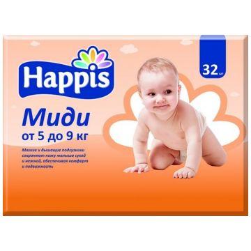 Подгузники HappisПодгузники Happis размер M (5-9 кг) 32 шт, в упаковке 32 шт., размер M<br><br>Штук в упаковке: 32<br>Размер: M