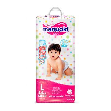Трусики ManuokiТрусики Manuoki L (9-14 кг) 44 шт, в упаковке 44 шт., размер L<br><br>Штук в упаковке: 44<br>Размер: L