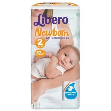 Подгузники LiberoПодгузники Libero Newborn (3-6 кг) экономичная упаковка 52 шт, в упаковке 52 шт., размер NB<br><br>Штук в упаковке: 52<br>Размер: NB