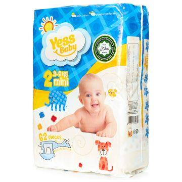 Подгузники YessBabyПодгузники YessBaby размер S (3-6 кг) 62 шт, в упаковке 62 шт., размер S<br><br>Штук в упаковке: 62<br>Размер: S