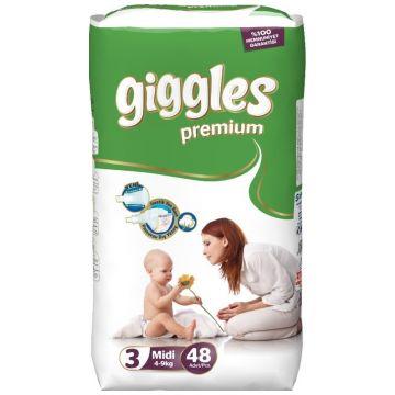 Подгузники GigglesПодгузники Giggles размер M (4-9 кг) 48 шт, в упаковке 48 шт., размер M<br><br>Штук в упаковке: 48<br>Размер: M
