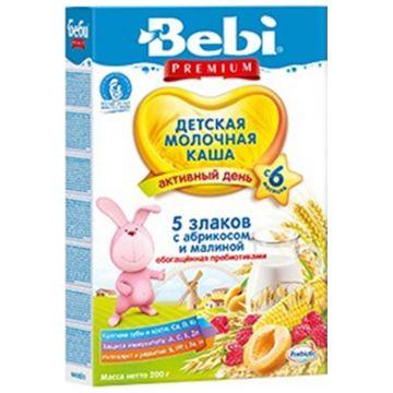 Каша BebiКаша Bebi 5 злаков с абрикосом и малиной молочная Премиум с 6 мес. 200 г, возраст 3 ступень (6-12 мес). Проконсультируйтесь со специалистом. Для детей с 6 мес.<br><br>Возраст: 3 ступень (6-12 мес)