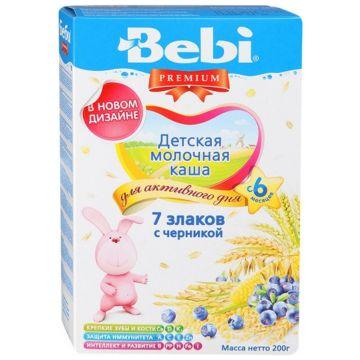 Каша BebiКаша Bebi 7 злаков с черникой молочная Премиум с 6 мес. 200 г, возраст 3 ступень (6-12 мес). Проконсультируйтесь со специалистом. Для детей с 6 мес.<br><br>Возраст: 3 ступень (6-12 мес)