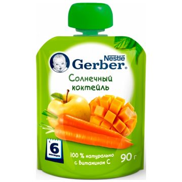 Детское пюре GerberДетское пюре Gerber Солнечный коктейль с 6 мес 90 г, возраст 3 ступень (6-12 мес). Проконсультируйтесь со специалистом. Для детей с 6 мес.<br><br>Возраст: 3 ступень (6-12 мес)