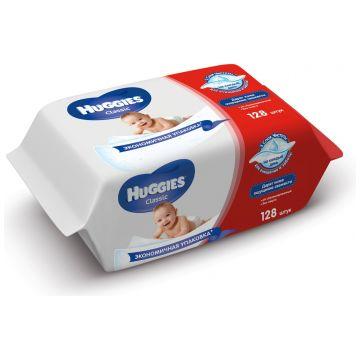 Салфетки детские влажные HuggiesСалфетки детские влажные Huggies Classic Duo 64*2 шт, в упаковке 128 шт.<br><br>Штук в упаковке: 128