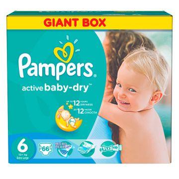 Подгузники PampersПодгузники Pampers Active Baby Extra Large (15+ кг) Джайнт Упаковка 66 шт, в упаковке 66 шт., размер XXL<br><br>Штук в упаковке: 66<br>Размер: XXL