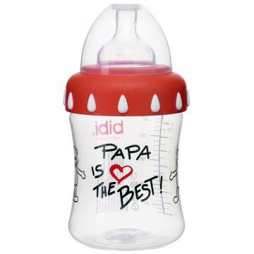Бутылочка BibiБутылочка Bibi  Mama/Papa с широким горлышком + соска регулируемый поток с 1 мес.  250 мл, возраст 1 ступень (0-3 мес)<br><br>Возраст: 1 ступень (0-3 мес)