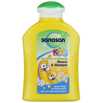 Гель для душа и шампунь SanosanГель для душа и шампунь Sanosan с ароматом банана 200 мл<br>