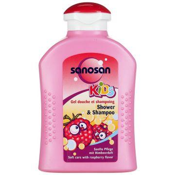Гель для душа и шампунь SanosanГель для душа и шампунь Sanosan с ароматом малины 200 мл<br>