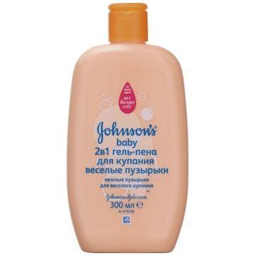 Пена-гель для купания Johnson  and  JohnsonПена-гель для купания Johnson  and  Johnson baby 2 в 1 Веселые пузырьки 300 мл.<br>