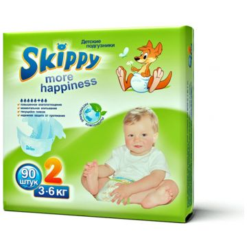 Подгузники SkippyПодгузники Skippy More Happiness размер S (3-6 кг) 90 шт, в упаковке 90 шт., размер S<br><br>Штук в упаковке: 90<br>Размер: S