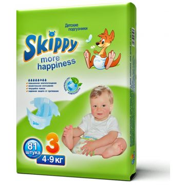 Подгузники SkippyПодгузники Skippy More Happiness размер M (4-9 кг) 81 шт, в упаковке 81 шт., размер M<br><br>Штук в упаковке: 81<br>Размер: M
