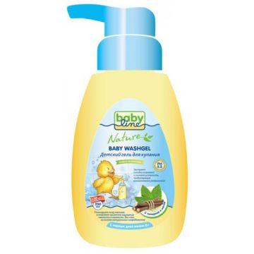 Гель для купания детский BabylineГель для купания детский Babyline Nature с мятой и солодкой с дозатором 260 мл<br>