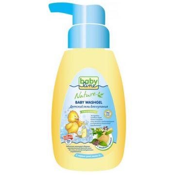 Гель для купания детский BabylineГель для купания детский Babyline Nature с целебными травами с дозатором 260 мл<br>