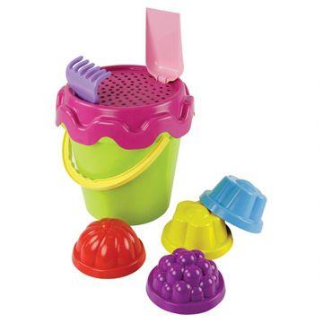 Набор для песка ToyMartНабор для песка ToyMart №4 (граб+лопат+вед.+сито+4 форм) 1663М<br>
