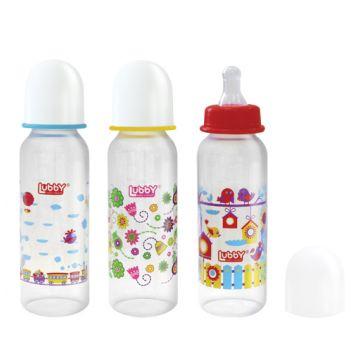 Бутылочка для кормления Lubby Малыши и малышки от 0 мес. с соской 250 мл. полипропилен силикон 12022
