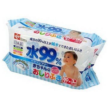 Влажные салфетки для новорожденных iPlus 99,9% воды 80*3 шт мягкая упаковка