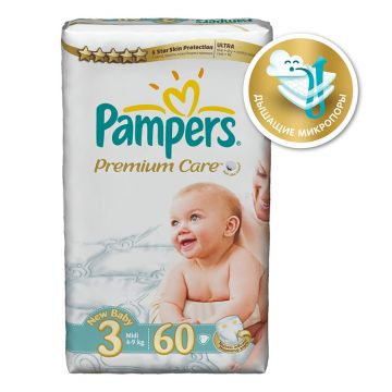 Подгузники Pampers Premium Care Midi (4-9 кг) экономичная упаковка 60 шт