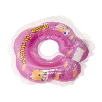 Надувной круг на шею для купания новорожденных BabySwimmer РОЗОВЫЙ