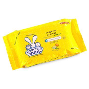 Влажные салфетки для детей Ушастый нянь очищающие 80 шт.