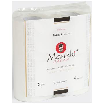 Туалетная бумага Maneki Black  and  White 3 слоя 30 м 4 рулона с ароматом иланг-иланг