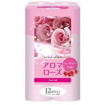 Туалетная бумага Fujieda Seishi двухслойная аромат розы и малины 12 рулонов х 275 м
